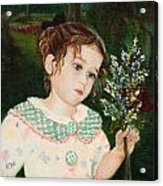 A Little Girl With Flowers Acrylic Print