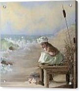 A Girl Posed By The Seashore Victoria Acrylic Print