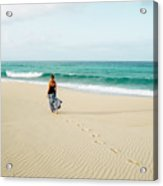 A Girl Walks On The Beach In A Long Acrylic Print
