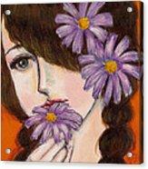 A Girl With Daisies Acrylic Print