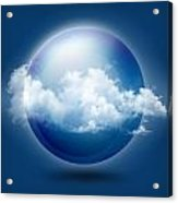 A Glass Transparent Ball With Cloud  Acrylic Print