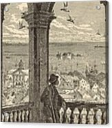 A Glimpse Of Charleston And Bay From St. Michael's Church 1872 Engraving By Harry Fenn Acrylic Print by Antique Engravings