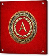 A - Gold Vintage Monogram On Red Leather Acrylic Print