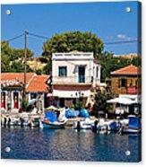 A Greek Island Harbor Acrylic Print