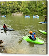 A Group Of Kayakers, Rafters Acrylic Print