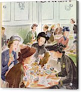 A Group Of Women Review A Dinner Receipt Acrylic Print