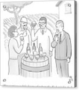 A Group Sample Wine At A Wine Tasting Vineyard Acrylic Print by Paul Noth