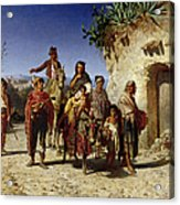A Gypsy Family On The Road, C.1861 Oil On Canvas Acrylic Print