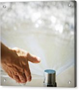 A Hand In A Playground Sprinkler Acrylic Print