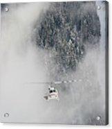 A Heli-ski Helicopter Flies Acrylic Print