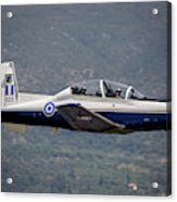 A Hellenic Air Force T-6 Trainer Flying Acrylic Print