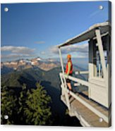 A Hiker Enjoys The View Acrylic Print