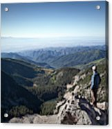 A Hiker Looks At The View Acrylic Print
