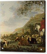 A Hilly Landscape With Figures Acrylic Print
