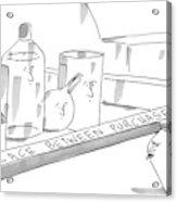 A Jar On A Supermarket Conveyor Belt Is Sticking Acrylic Print