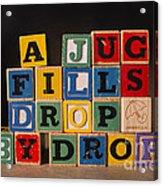 A Jug Fills Drop By Drop Acrylic Print