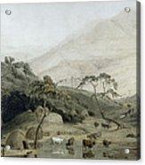 A Kaffir Village, C.1801 Wc & Graphite On Paper Acrylic Print
