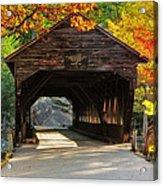 A Kancamagus Gem - Albany Covered Bridge Nh Acrylic Print by Thomas Schoeller