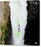 A Kayaker Takes The Plunge On Huge Acrylic Print