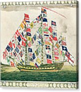 A King S Ship Dressed With The Colours Of Different Nations 6th October 1794 Acrylic Print