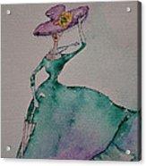 A Lady On A Windy Day Acrylic Print
