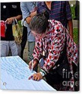 A Lady Signs Petition At May Day Rally Singapore Acrylic Print