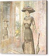A Lady's Curious Reflection Acrylic Print