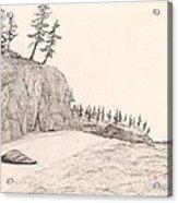 A Lakeshore... Sketch Acrylic Print by Robert Meszaros