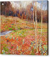 A Landscape In Spring With A Nun Acrylic Print