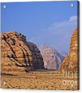 A Landscape Of Rocky Outcrops In The Desert Of Wadi Rum In Jordan Acrylic Print by Robert Preston