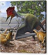 A Large Bakonydraco Pterosaur Attacking Acrylic Print by Sergey Krasovskiy