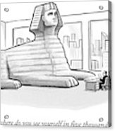A Large Sphinx Sits In Front Of A Desk Acrylic Print