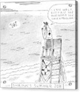 A Lifeguard Shouts At A Drowning Man Acrylic Print