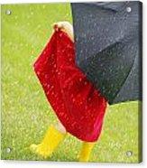 A Little Girl Walking In The Rain While Acrylic Print