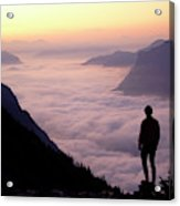 A Lone Hiker Above The Clouds Acrylic Print