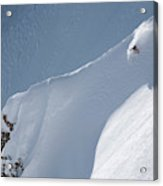 A Lone Skier Descends A Steep Line Acrylic Print