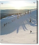 A Lone Skier Makes A Turn At Whitefish Acrylic Print