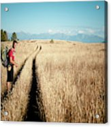 A Male Hiker In Montana Acrylic Print
