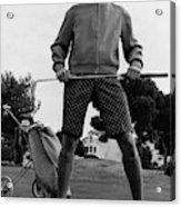 A Male Model Posing As A Golfer Wearing Acrylic Print