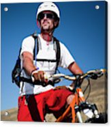 A Male Mountain Biker Stops To Enjoy Acrylic Print