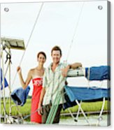 A Man And A Woman Embrace In Sailboat Acrylic Print