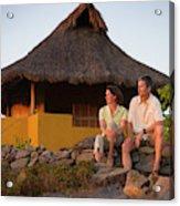 A Man And Woman Enjoy Sunset Acrylic Print