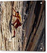 A Man Climbing A Big Wall In El Potrero Acrylic Print