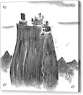 A Man Climbs To The Top Of A Mountain Only Acrylic Print
