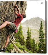 A Man Clinging To Rock Face In The Acrylic Print