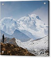 A Man Contemplates The Size Of Kanchenjunga Acrylic Print
