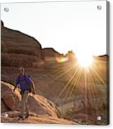 A Man Hiking In The Needles District Acrylic Print