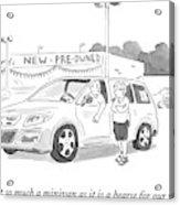 A Man In A Minivan Speaks To A Woman At A Car Acrylic Print