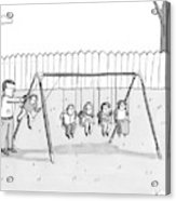 A Man Is Seen Swinging A Group Of Kids Like A Set Acrylic Print