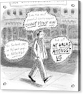 A Man Is Seen Walking Down The Sidewalk With Word Acrylic Print by Roz Chast